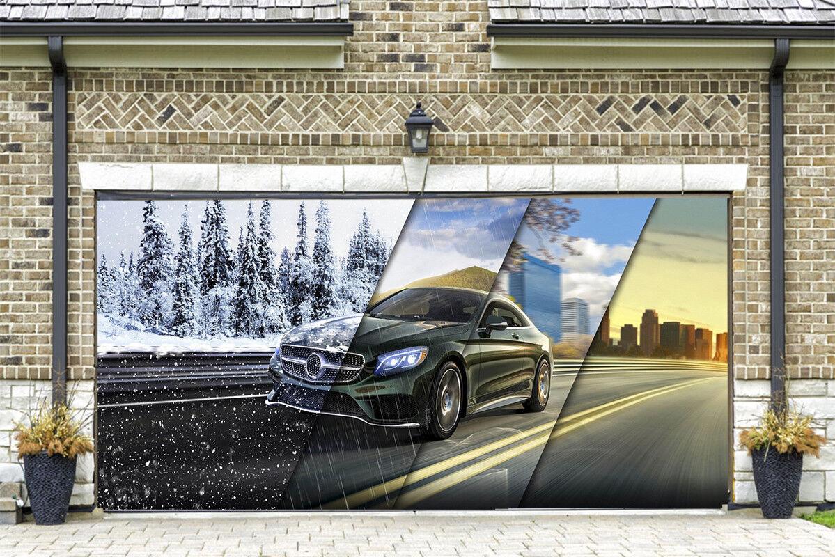 3D Car Seasons 4 Garage Door Murals Wall Print Decal Wall AJ WALLPAPER AU Lemon
