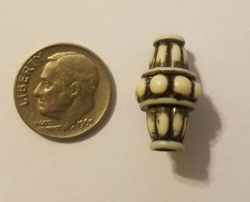 50 pcs White Babylonian Bicone Hogan Plastic Craft Jewelry Beads w// Collar 20mm