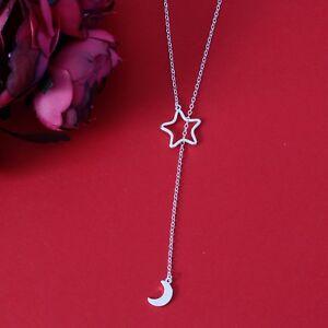 Stern-und-Mond-Kette-Sterling-Silber-925-versilbert-Neu-Trend