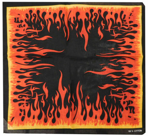 "Red Orange Yellow Flames Black 22/""x22/"" 100/% Cotton Bandanna Bandana"