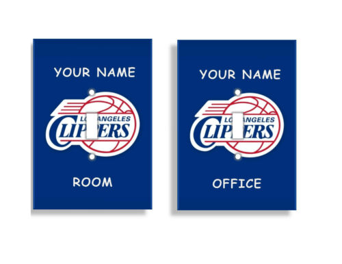 PERSONALIZED Los Angeles Clippers Light Switch Covers NBA Basketball Home Decor