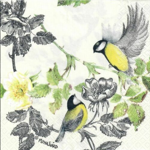 Yellow birds 4 Single paper decoupage napkins flowers design-332 green