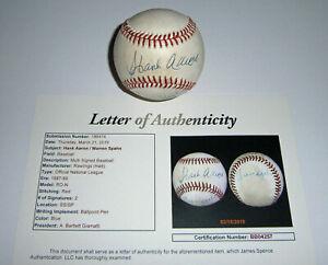 BRAVES-Hank-Aaron-amp-Warren-Spahn-signed-baseball-JSA-LOA-HOFers-AUTO-Autographed