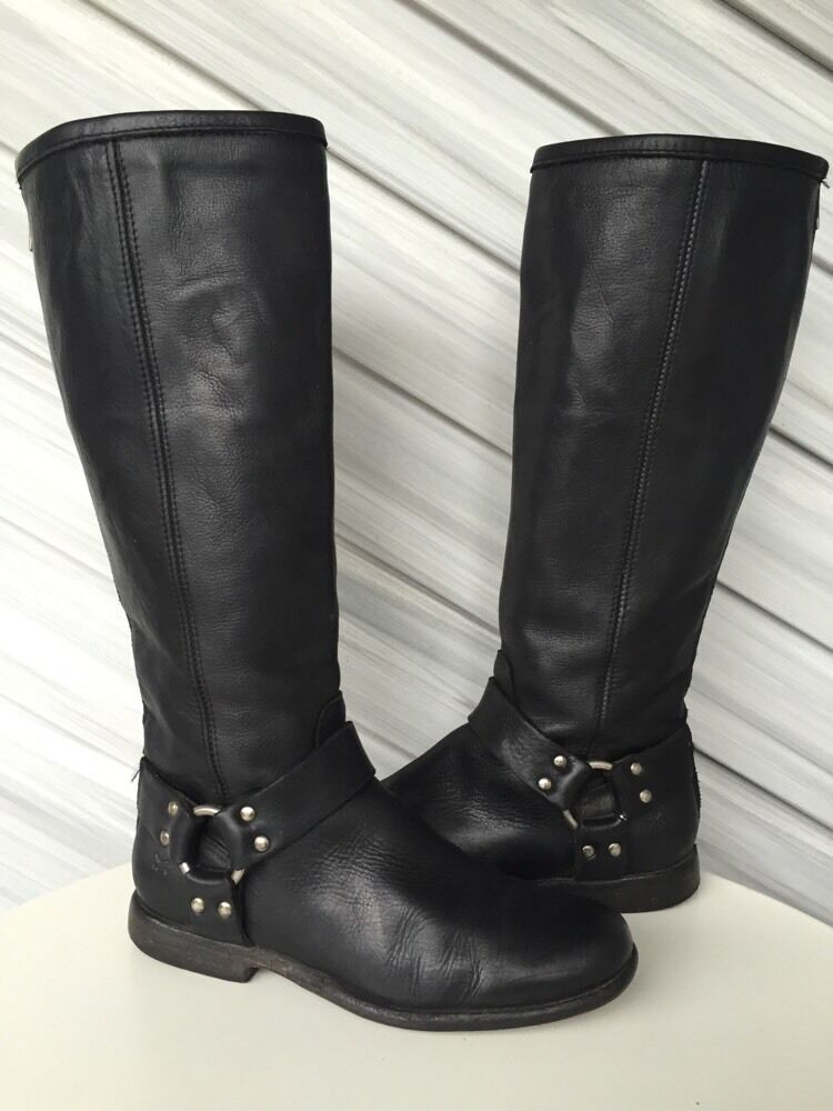 FRYE WOMENS PHILIP HARNESS VINTAGE LEATHER TALL TALL TALL RIDING BOOT BLACK 6.5 EUC   368 ee852a