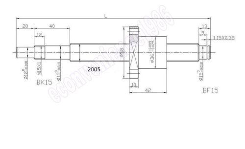 1x Antibacklash SFE2020--1500 mm Ballscrew /& nut with standard Machine end