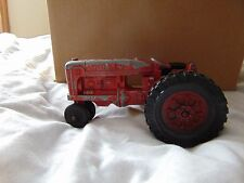 "Vintage Hubley red tractor die cast 5 1/2"" x 2 1/2"" USA 4 wheels"
