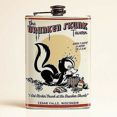 DRUNKEN SKUNK FLASK tavern I got stinkin drunk at drunken skunk 8oz  *