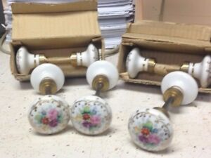 Antique Victorian Handpainted Porcelain Door Knob Set Flowers With Gold Gilt NOS