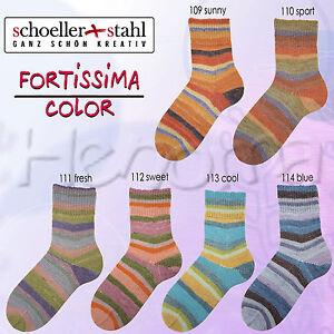 100g-Schoeller-Stahl-Fortissima-4-fach-034-Cotton-Stretch-Stripe-Hype-034-Sockenwolle