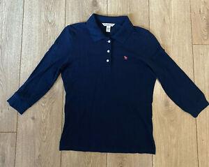Abercrombie-amp-Fitch-Women-039-s-Polo-T-Shirt-Blue-Short-Sleeve-Large-Cotton-Blend