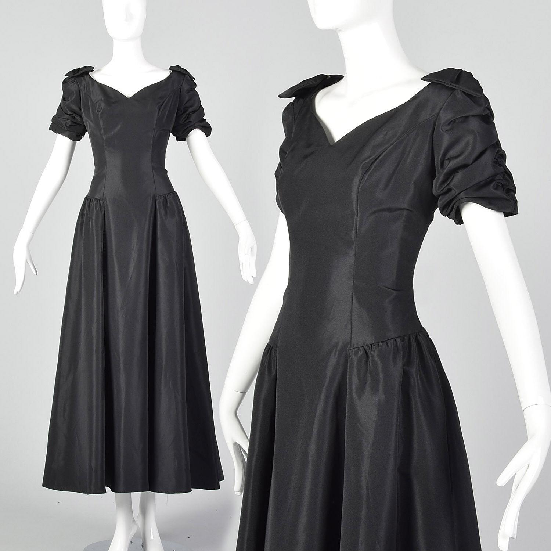Vestido De Fiesta Vintage Largo Negro Pequeño Goth Prom Deshuesado  Arco de diamantes de imitación años Nuevo Formal  caliente