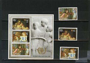 Art Aitutaki 1985 Tableaux/international Enfant Année De 3 Timbres & S/s Mnh Topical Stamps