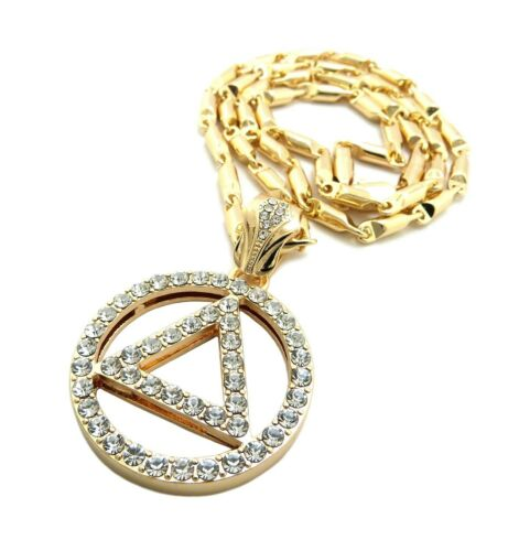 """New Sobriety Circle /& Triangle Pendant w//4mm 24/"""" Bullet Chain Necklace FXZ94"""