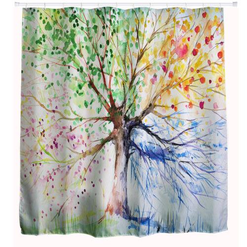 Colorful Tree Four Seasons Polyester Waterproof Shower Curtain Bathroom Decor