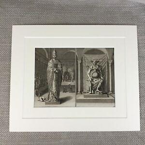 Antik-Original-18th-Century-Gravierung-Picart-Chinesisch-Zeremonie-Gott-Gottheit