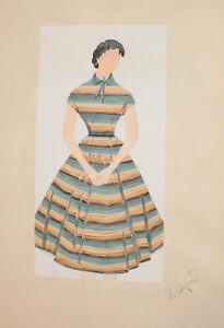 Vintage-Gouache-Painting-Female-Theatre-Opera-Costume-Design-Signed
