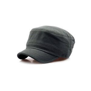 56d2b07bdbe Unisex Mens Womens Short Brim Casual Cadet Military Cap Trucker Hats ...