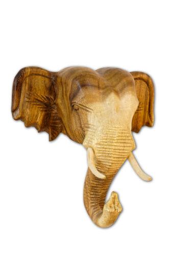 Elefanten Kopf Wandrelief Massiv Holz Elefantenbüste Wanddeko Thai Wandbild