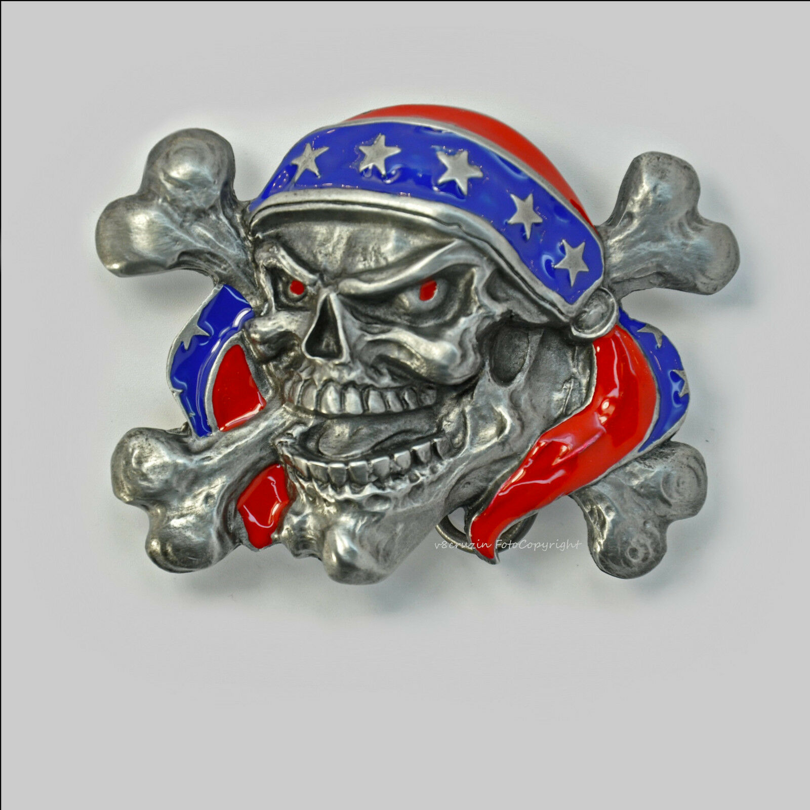 Skull Gürtelschnalle Totenkopf Reaper Pirat Rocker Belt Buckle Metal * 354