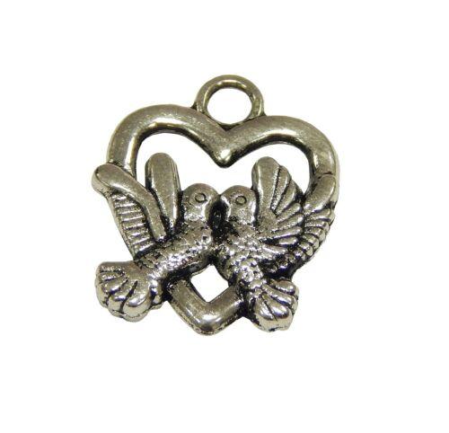 10 Metall Anhänger Herzen Vogel Silber 18mm für Halskette Charm Armbänd M483