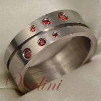 Titanium Men's Ring Wedding Band Round Red Ruby Simulated Jewelry Size 6-13