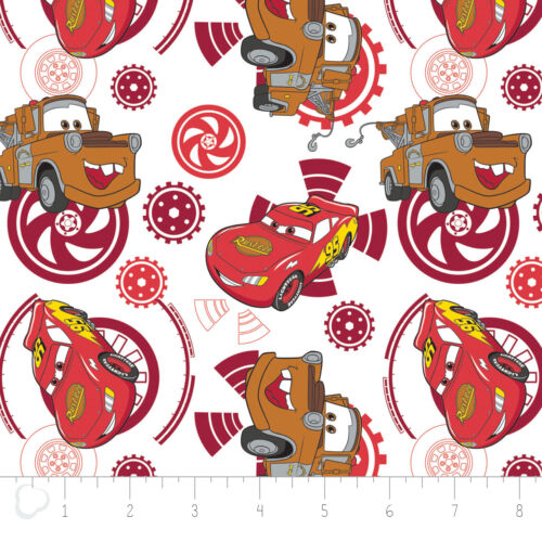 Disney Pixar Cars Gears in Ruby Camelot 100/% cotton fabric by the yard