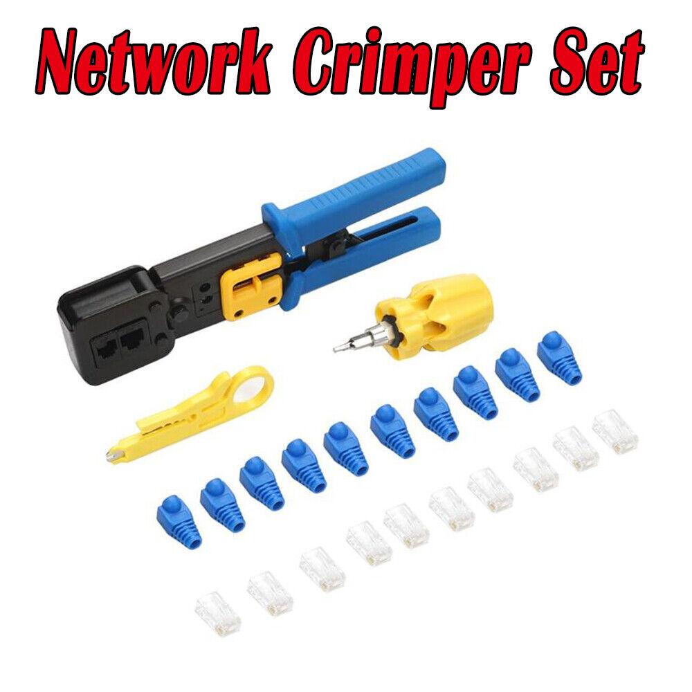 RJ45 RJ11 Ethernet Network Cable Tester Crimping Crimper Stripper Cutter Tool