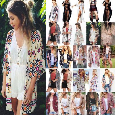 Boho Women Cover Up Loose Floral Kimono Cardigan Ladies Jacket Tops Plus Sized