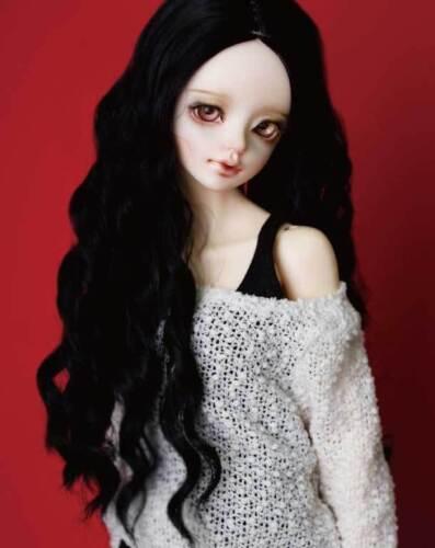 "1//3 8-9/"" BJD Doll Wig Deep Black Centre Parting Spiral Curls Wavy Hair Long"