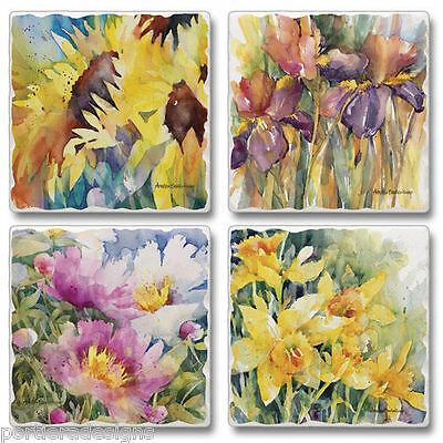 Mixed Absorbent Tumbled Stone Coasters Set 4 Flower Fest Iris Daffodil Sunflower