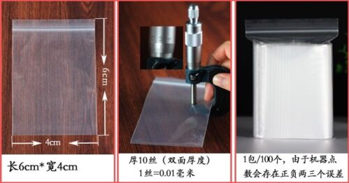 "1-1000 Bags 4/""*6/"" Polypropylene Zip New Clear 2Mil Plastic Seal Top ZipLock"