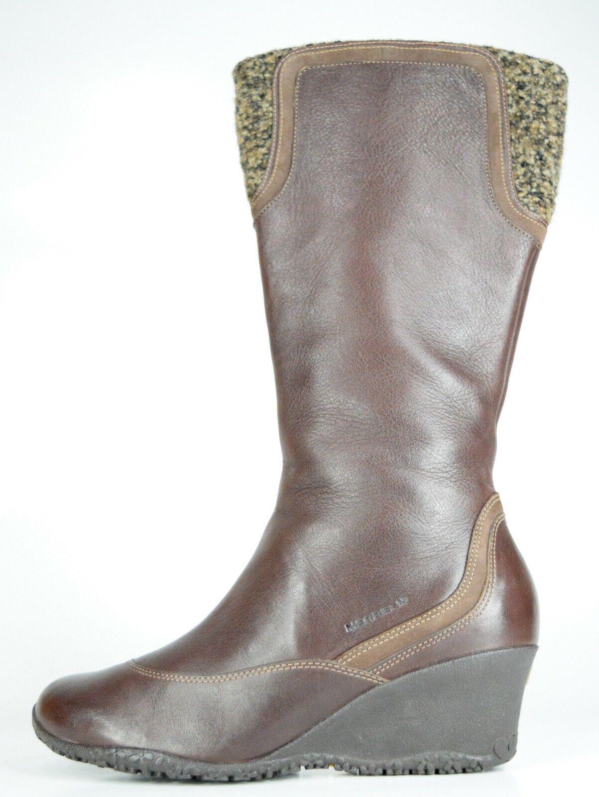 Merrell Larkspur rödträ Wool läder Side Zip Zip Zip Knee High Wedge stövlar Storlek 7.5 M  100% fri frakt