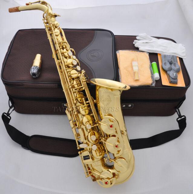 Professional Gold new TAISHAN Eb Alto Sax Saxophone High F# With case