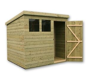 image is loading wooden garden shed 7x7 shiplap pent shed tanalised