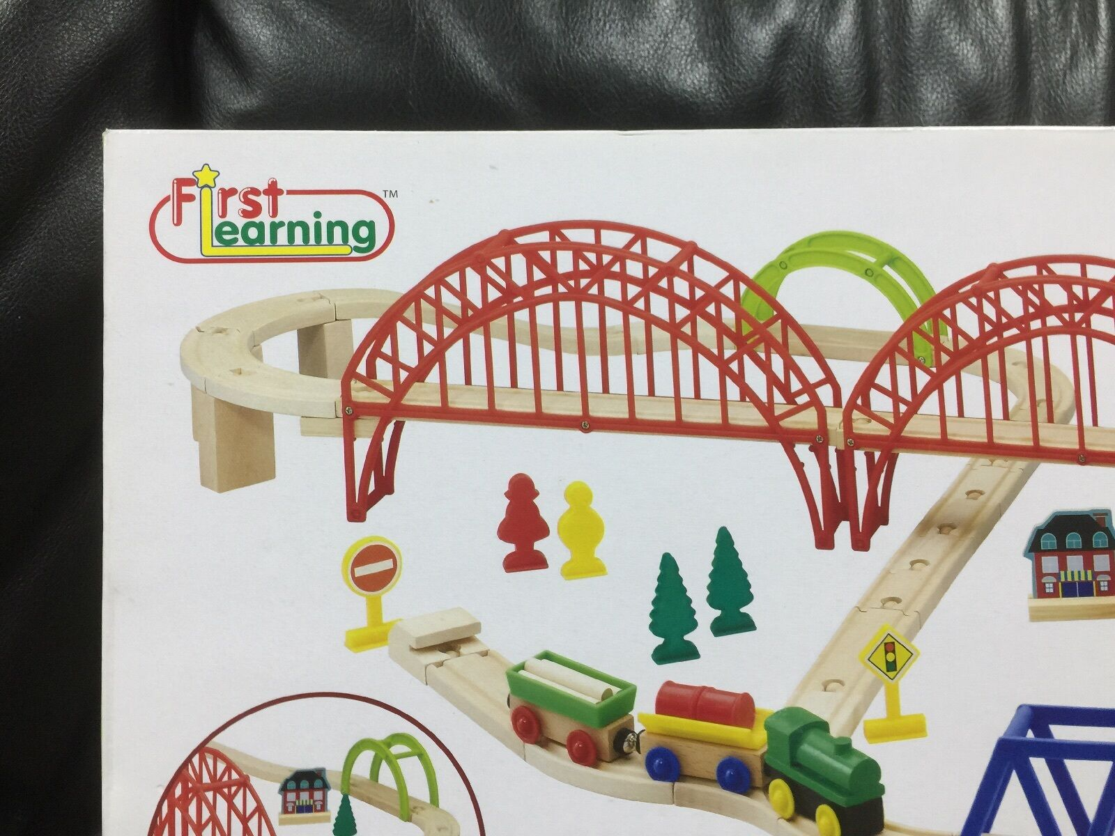 BNIB First Learning Learning Learning Wooden Train Set 60 Pieces 3fcdeb