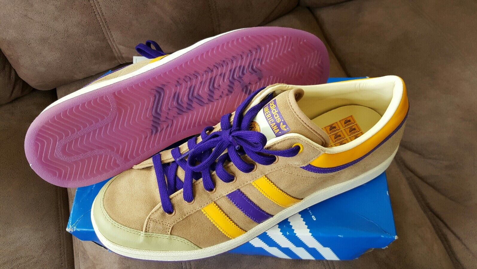 Rare  New  Men's ADIDAS Americana Lo SNEAKERS (SZ. 12) Los Angeles Lakers NBA