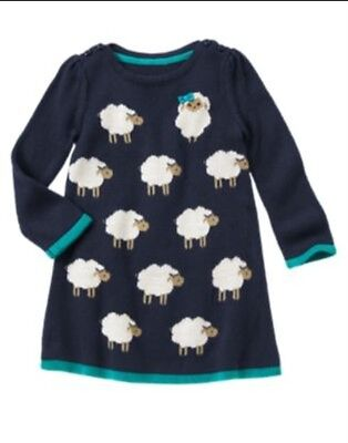 NWT Gymboree Sweater Weather Purple Kittens Hearts Sweater Dress 12-18-24 /& 2T