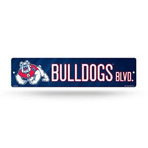 Bulldogs W//2 Logos Street Signstreet Sign 36 x 6 Team Color NCAA Fresno State