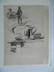 Dibujo-Aguada-Firmado-Roussel-Geo-1860-1928