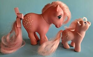 Vtg My Little Pony Cotton Candy Concave Feet Pink 1982 MLP G1 Collector W/ Baby