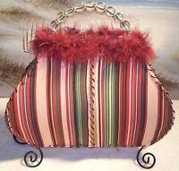Handbag Purse Decorative Table Lamp Night Light Feathers Fabric Beaded Handle