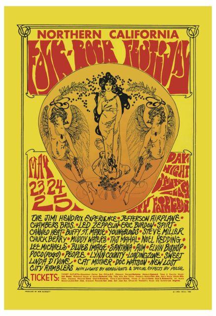 rock jimi hendrix led zeppelin at folk rock festival concert poster 1969 for sale online ebay. Black Bedroom Furniture Sets. Home Design Ideas