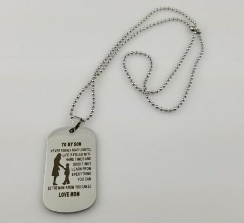 To My Son NEVER FORGET THAT I LOVE Love Mom Dog Tag Pendant Ball Chain Necklace