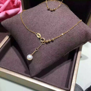 Pure-18K-Yellow-Gold-O-Link-Bracelet-With-7-7-5mm-Freshwater-Pearl-16-2cm-L
