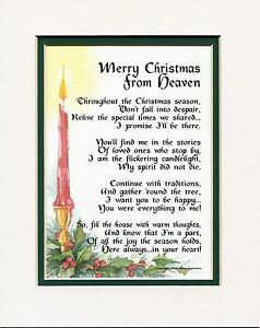 Christmas From Heaven.Details About Merry Christmas From Heaven 188 Memorial Bereavement Sympathy Gift For Loss