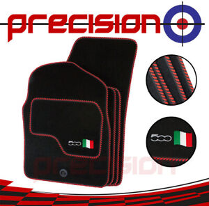 Classic Black Carpet Car Mats with 500 Logo & Red Twist for Fiat 500 07-12