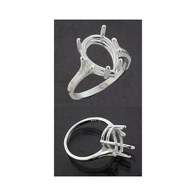 (7x5mm -10x7mm) Pear Shape Sterling .925 Ring Setting (Ring Sizes 5,6,7, 8 )