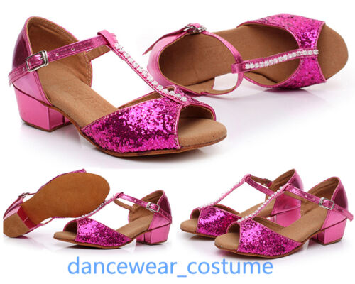Girls Kids Party Ballroom Latin Tango Samba Salsa Dance Shoes Heels Sandals 8-13