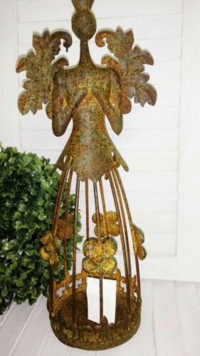 Edelrost Engel Windlicht Weihnachten Rost Metall Shabby Vintage 34cm