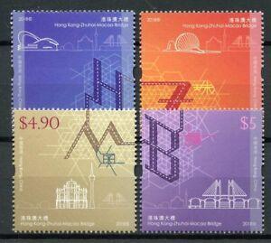 Hong-Kong-2018-MNH-Zhuhai-Macao-Bridge-JIS-4v-Set-Bridges-Architecture-Stamps